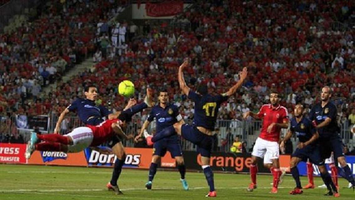 لقطة من مباراة الأهلي والترجي التي انتهت بالتعادل 1-1