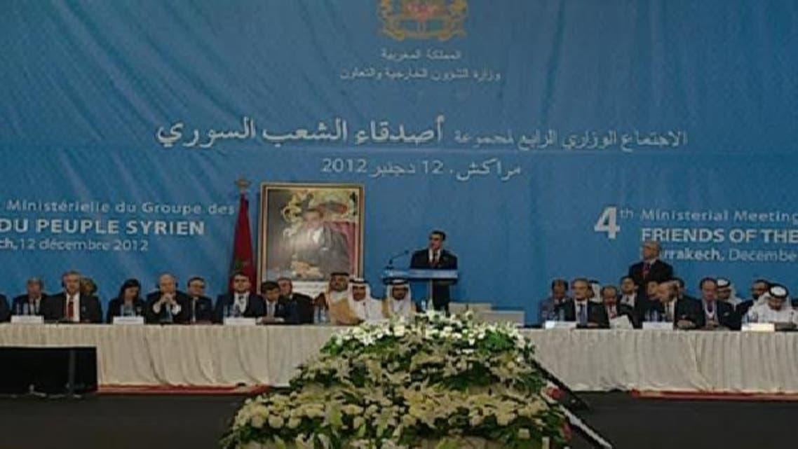 مراکش میں دوستان شام ممالک کے اجلاس کا ایک منظر۔