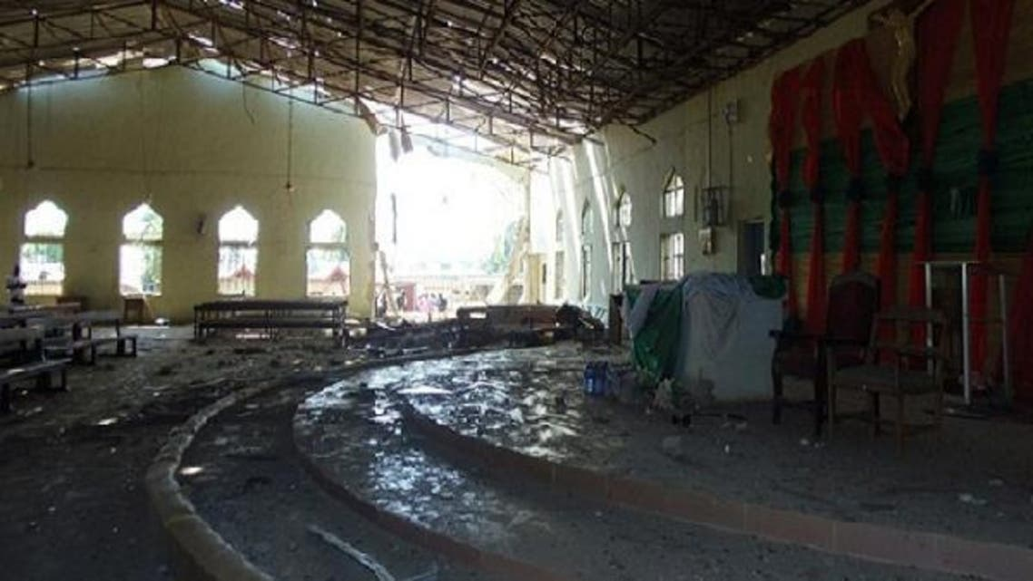 A view of the inside of a church in Kaduna, which was targeted by a suicide attacker who detonated a car filled with explosives, in Kaduna, Nigeria. (AFP)