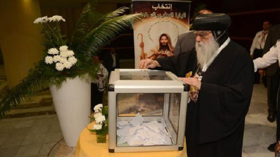 Egyptian caretaker of the Coptic Church Bishop Pachomius casting his vote to elect a new spiritual leader at the Saint Mark\'s Coptic Cathedral in Cairo  last week. (AFP)