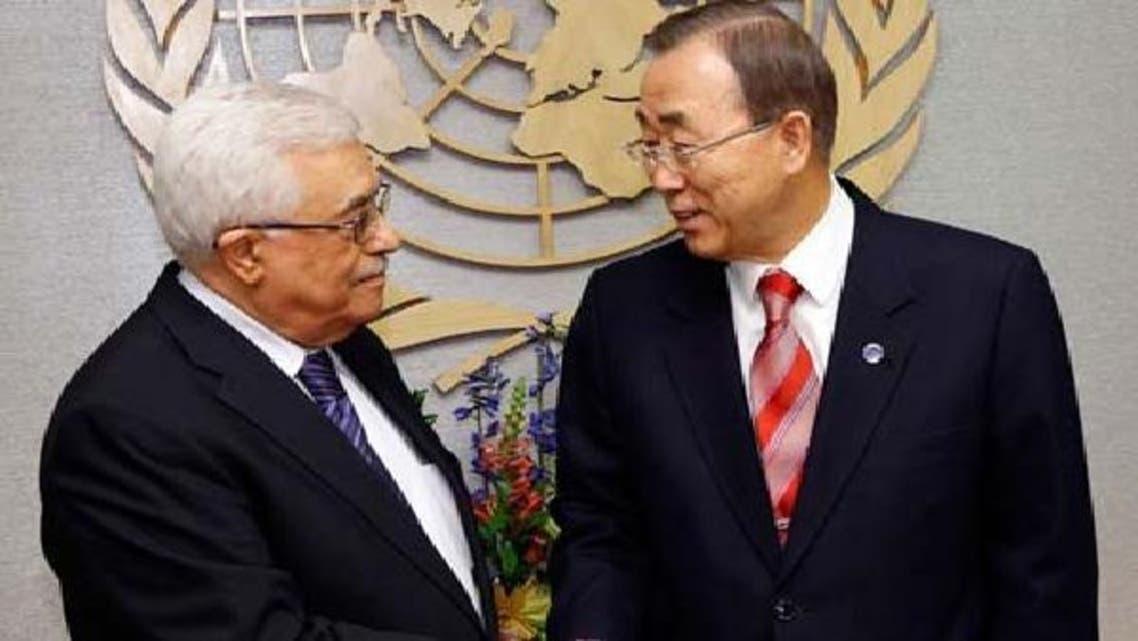 فلسطینی صدر محمودعباس اقوام متحدہ کے سیکرٹری جنرل محمود عباس کے ساتھ۔