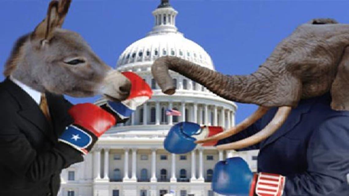 صراع الفيل والحمار يمثل تنافس الجمهوريين والديمقراطيين على رئاسة البيت الأبيض
