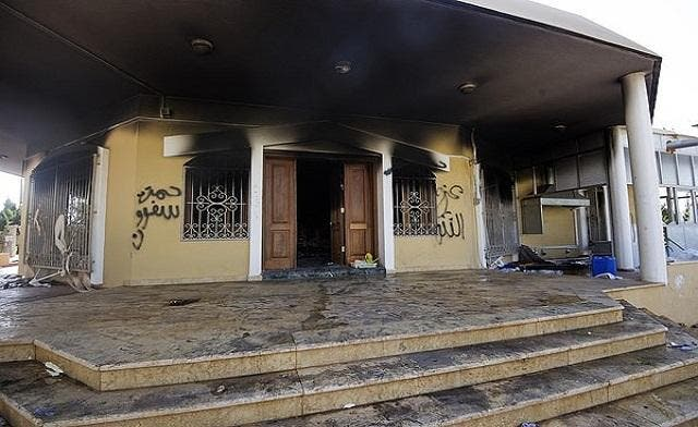 A burnt building at the U.S. consulate compound in the eastern Libyan city of Benghazi on September 13, 2012 following an attack late on September 11 in which the US ambassador to Libya and three other US nationals were killed.(AFP)