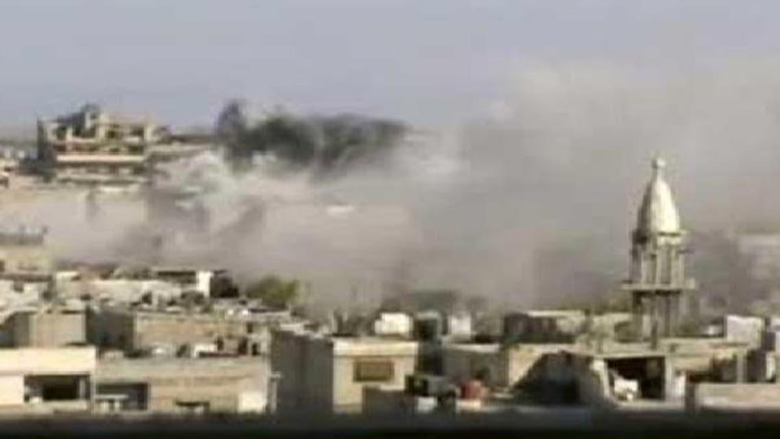 درعا میں شامی فوج کی گولا باری کا منظر