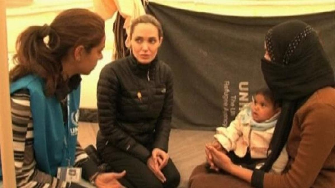 Angelina Jolie expresses solidarity with Syrian refugees and paid tribute to the Jordanian government and people for their support to refugee protection. (Reuters)