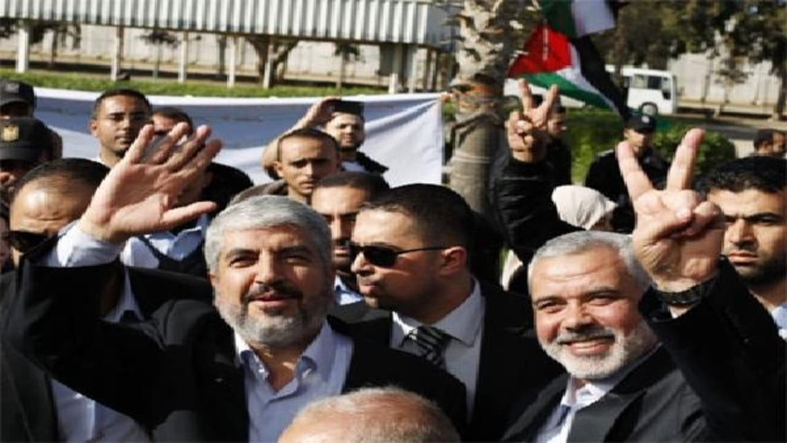 حماس کے سربراہ خالد مشعل، وزیر اعظم اسماعیل ہنئیہ کے ہمراہ