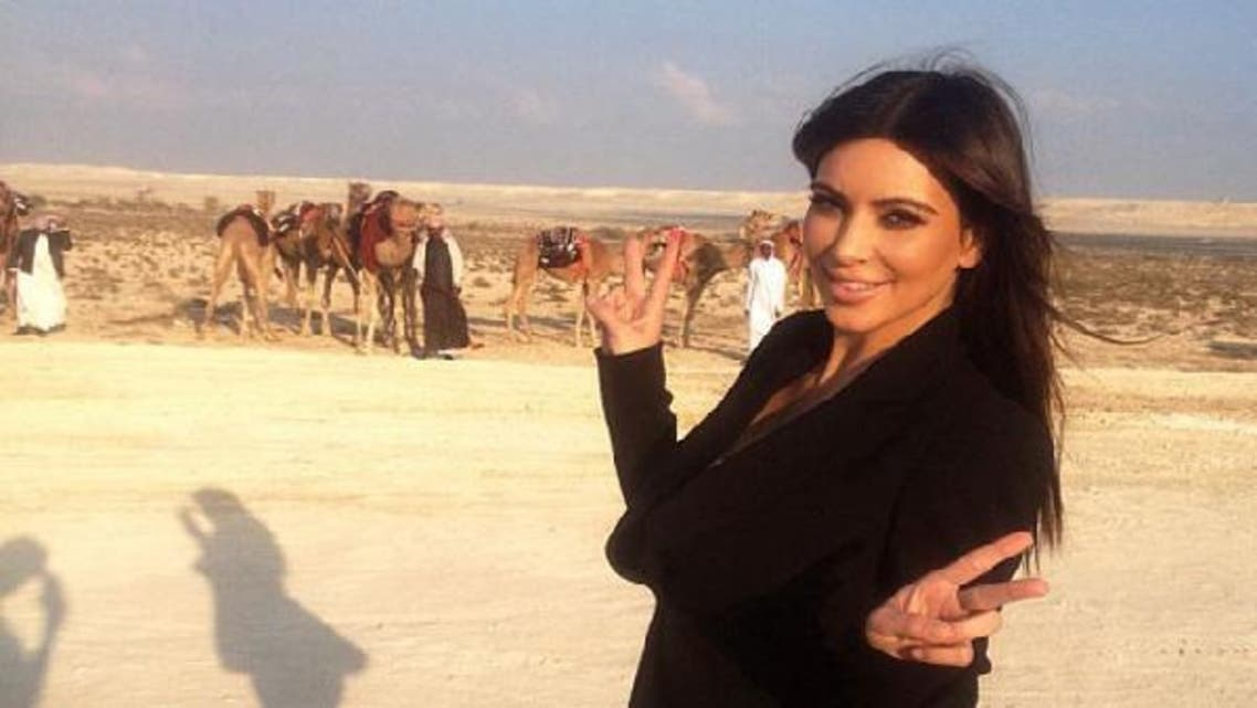 Kardashian's twitter account flickered with pictures of Kim in the desert, with camels appearing in the background. (photo courtesy: Kim Karadashian's Twitter account)