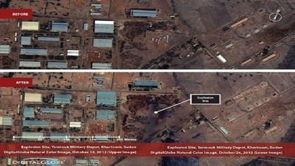 خرطوم کے نواح میں واقع یرموک ملٹری کمپلیکس کی 12 اکتوبر (اوپر) اور 26 اکتوبر کی تصاویر