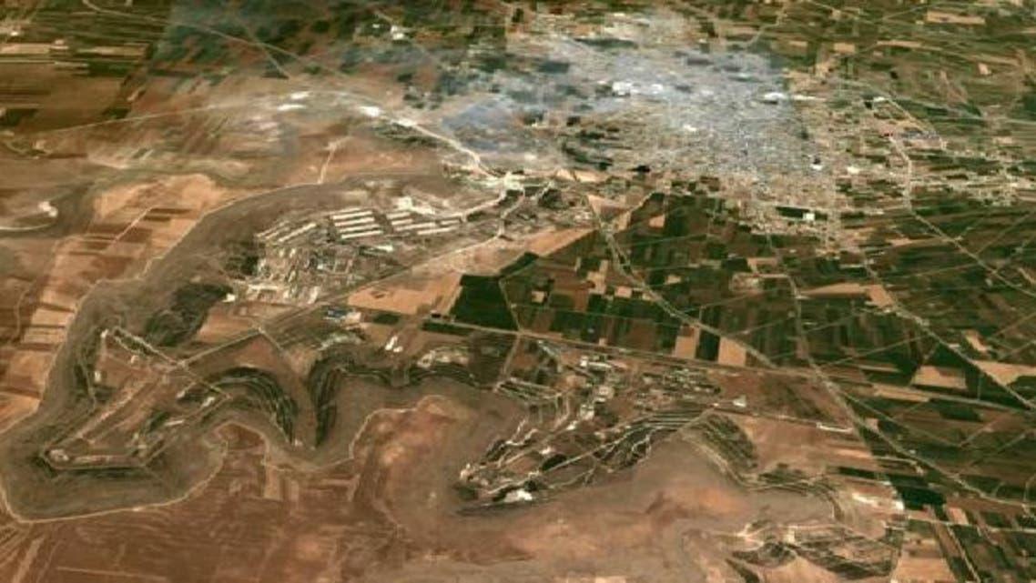 """صورة من الجو لقاعدة \\""""السفيرة\\"""" قرب حلب"""