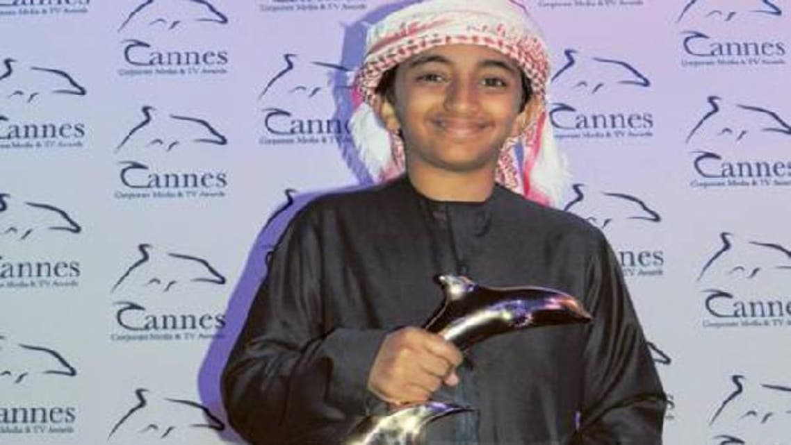 Fourteen-year-old Ahmed al-Dahouri received the award for his role in a movie at the Cannes Corporate and TV Festival. (Courtesy to The Gulf News)