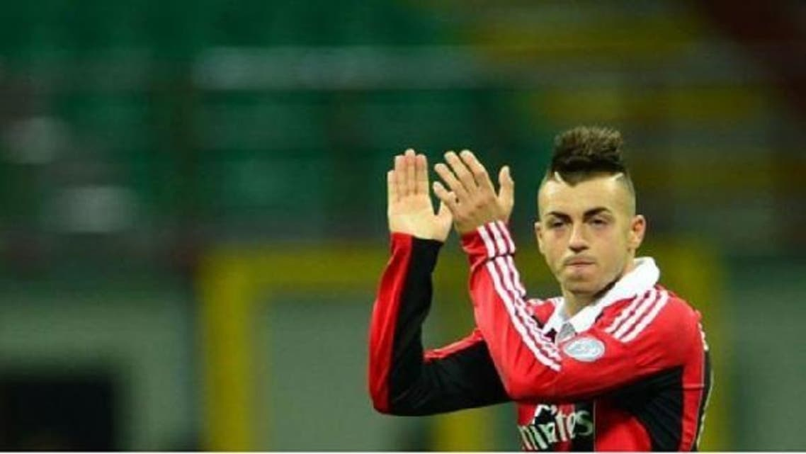 AC Milan\'s forward Stephan El Shaarawy celebrates at the end of the Italian Serie A football match. (AFP)