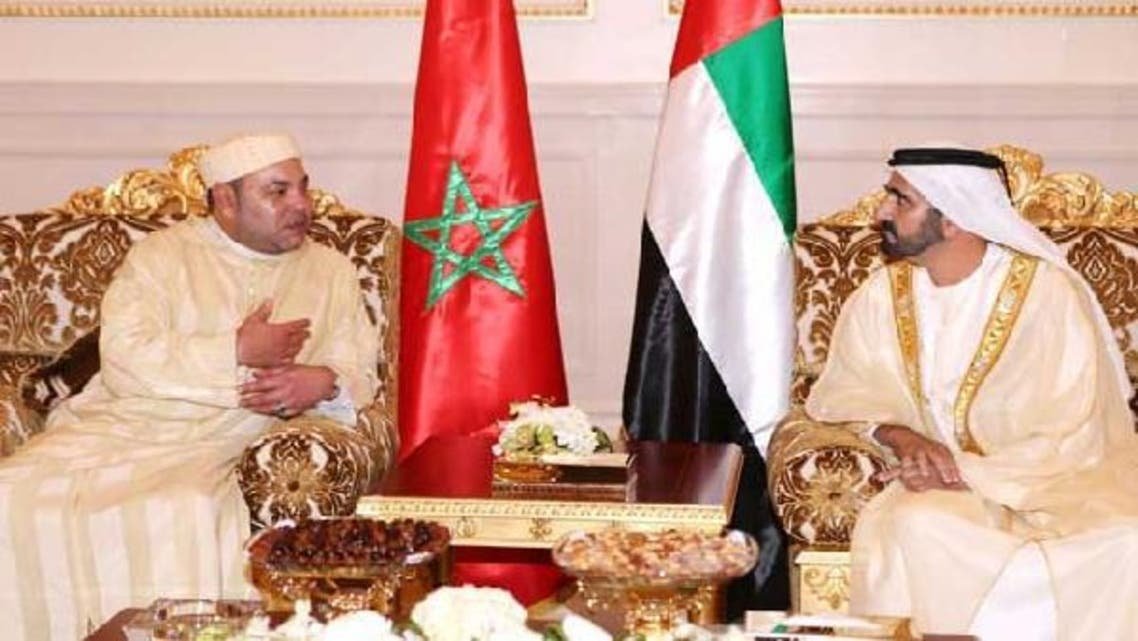 Morocco's King Mohammed VI (L) meets with United Arab Emirates' Vice President and Prime Minister and Ruler of Dubai Sheikh Mohammed bin Rashid al-Maktoum upon his visit in Dubai. (Reuters)