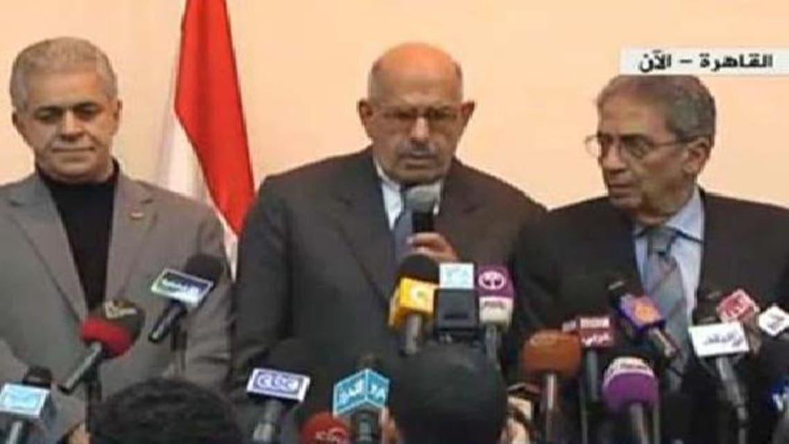 دائیں سے: عمرو موسی، محمد البرادعی اور صباحی حمدین
