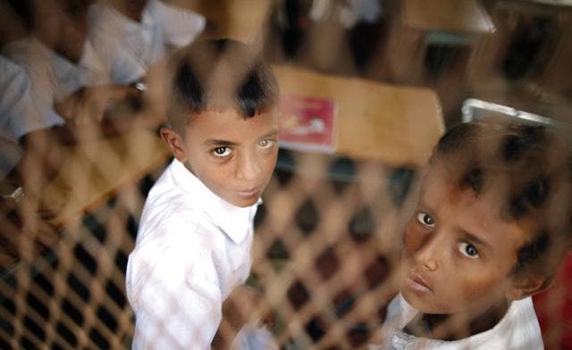 A week after the school year resumes in Yemen, many students find themselves without school books as a result of the government financial crisis following many months of political unrest and financial instability. (Reuters)