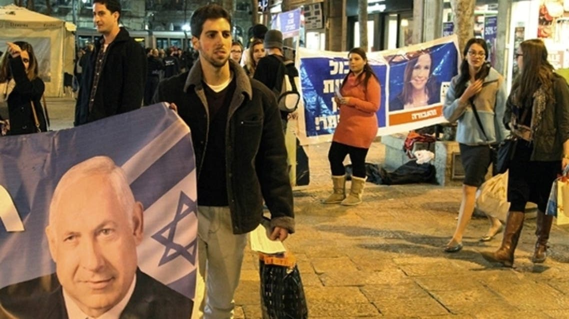 With less than 24 hours until Israelis vote in general elections, party leaders were campaigning down to the wire ahead of a ballot seen returning Prime Minister Benjamin Netanyahu to office. (AFP)