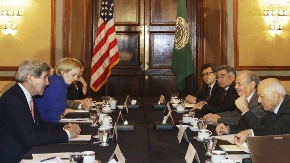 U.S. Secretary of State John Kerry (L) meets with Arab League Secretary General Nabil El-Arabi (R), in Cairo March 2, 2013. (AFP)