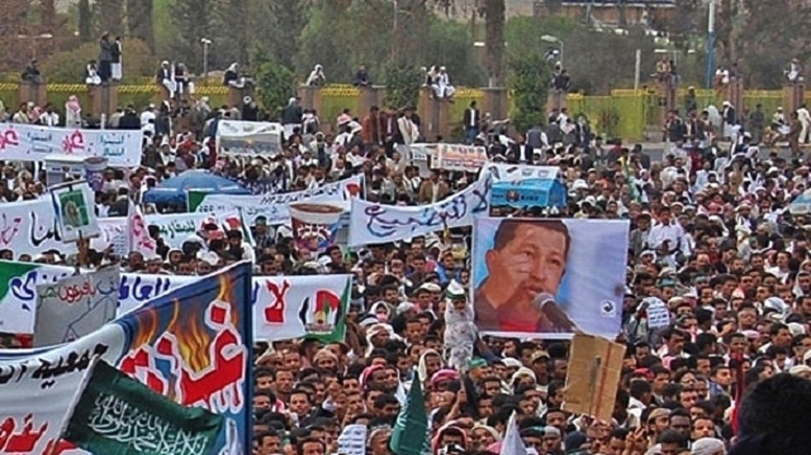 At a pro-Palestine demonstration in Yemen in 2009. Chavez recieved support for his anti-Israel stance. (Courtesy: Adeeb Qasem / france24.com)