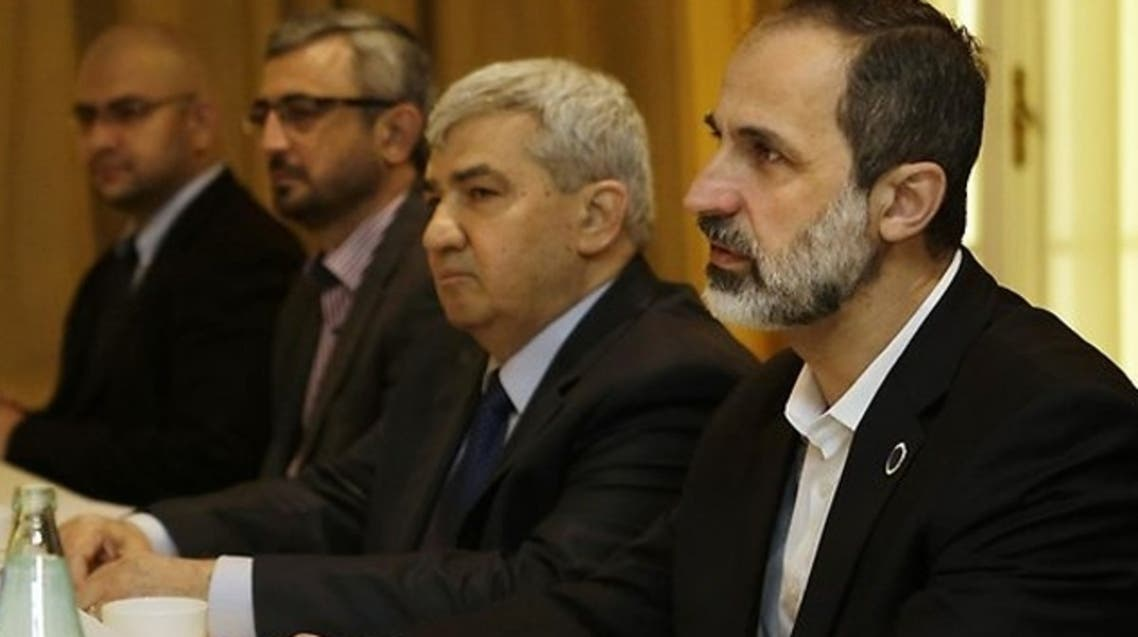 Syrian opposition coalition leaders, President Mouaz al-Khatib, right, and Vice President Riad Seif, second from right, in talks with US Secretary of State John Kerry in Rome. Source: AFP