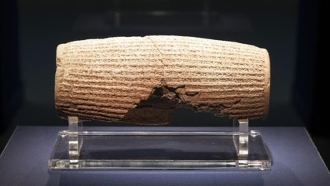 The 2,600-year-old Cyrus Cylinder from ancient Babylon is considered to be the world's first human rights declaration. The piece was shown for the first time in the United States after loan from the British Museum. (Photo courtesy Associated Press)