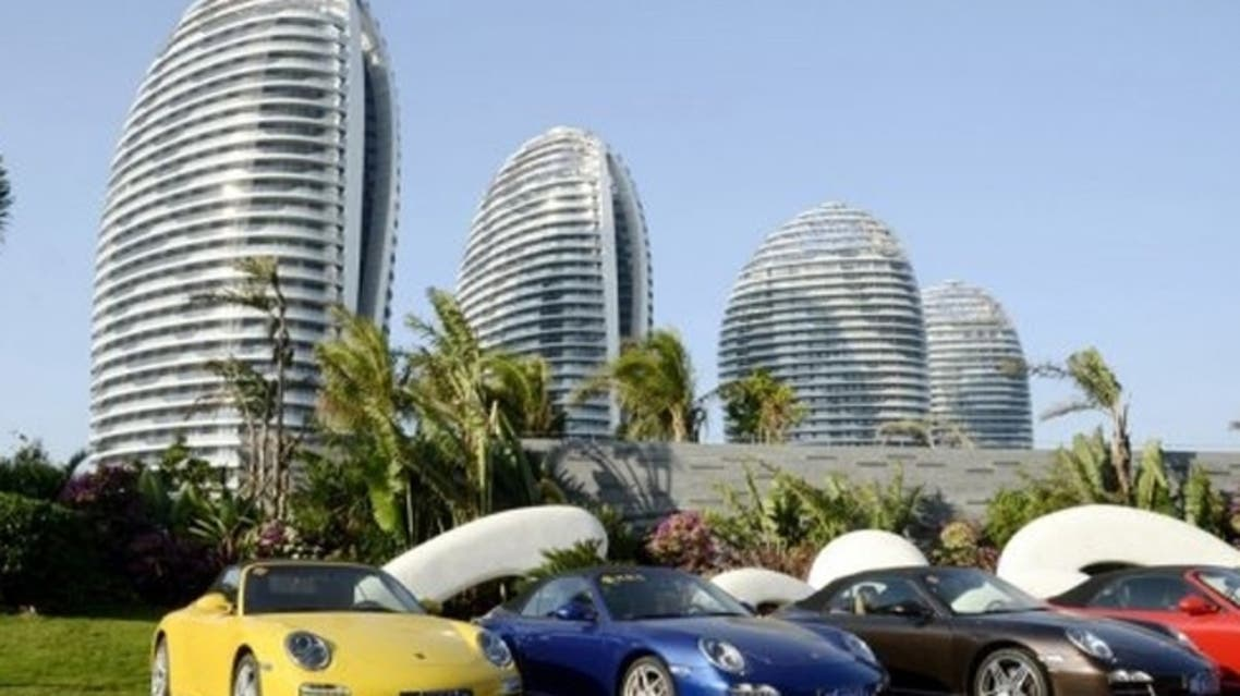 Sports cars parked at Phoenix Island, in the Chinese seaside city of Sanya. (AFP)