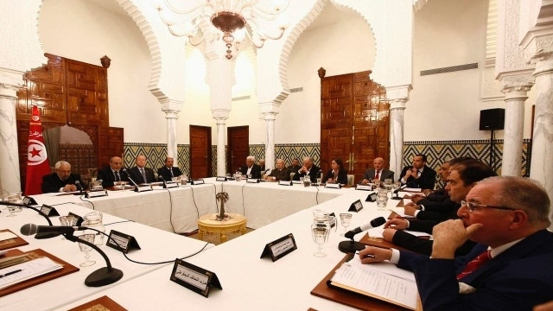 A general view of a round of consultations with Prime Minister Hamadi Jebali and other political parties at the Carthage Palace in Tunis, February 15, 2013. (Reuters)