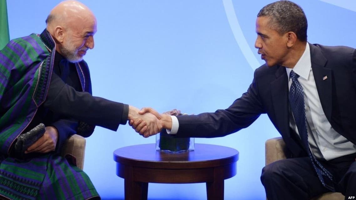 كرزاي في لقاء مع الرئيس الأمريكي باراك أوباما