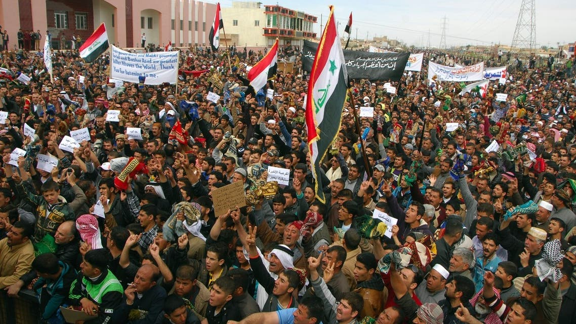 """Iraqi Sunni Muslims chant """"Allahu Akbar"""", which means god is great, during an anti-government demonstration in the central city of Samarra March 8, 2013. (Reuters)"""
