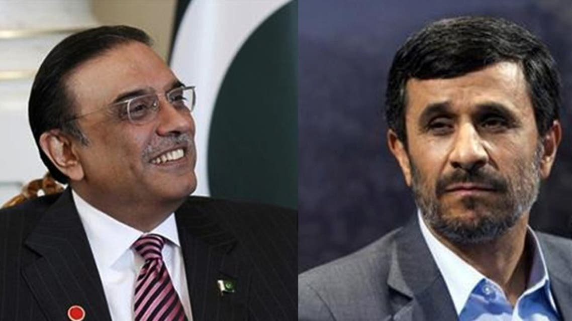 """Pipeline construction to transfer gas from the Islamic Republic to Pakistan ... started at the zero point of the border in the presence of President Mahmoud Ahmadinejad (R) and Pakistani President Asef Ali Zardari,"" Iran's state news agency IRNA reported. (Reuters)"