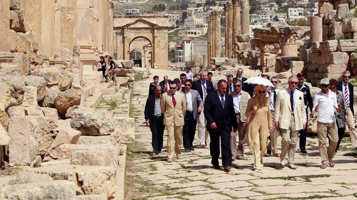 Prince Charles and Duchess visit Jordan's ancient Roman ruins