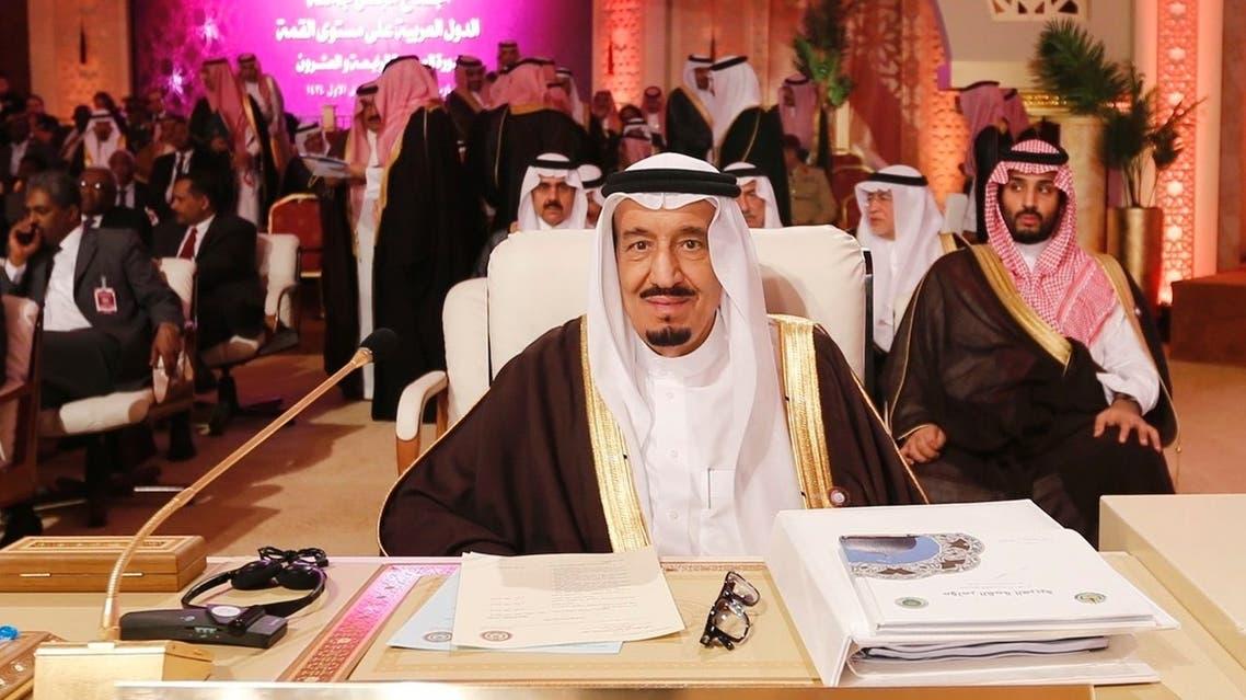 ولي العهد السعودي أثناء اللقاء كلمتة في القمة العربية