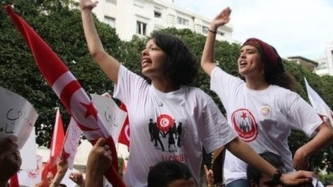 """1. A demonstration was recently held where approximately 800 protestors gathered in central Tunis to rally for a """"secular state"""" against """"the party of the brotherhood."""" (AFP)"""