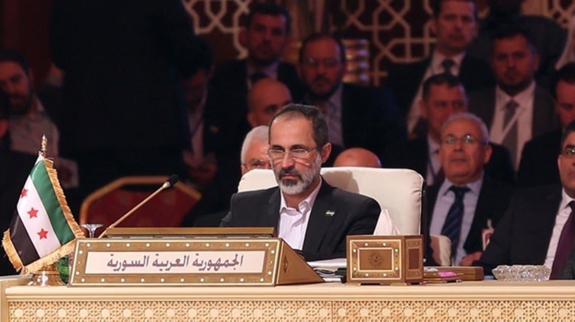 معاذ الخطيب في القمة العربية في الدوحة