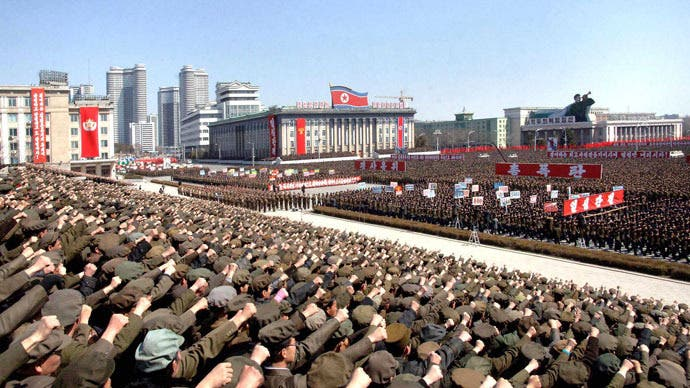 North Koreans including soldiers attend a rally in support of North Korean leader Kim Jong-un's order to put its missile units on standby in preparation for a possible war against the U.S. and South Korea, in Pyongyang March 29, 2013.reuters