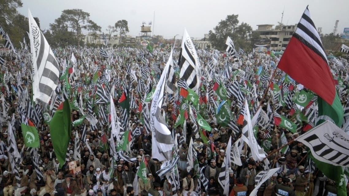 Hundreds of supporters of different religious and political parties take part in an anti-U.S. and Indian rally organized by the Difa-e-Pakistan Council in Rawalpindi, Pakistan. (Reuters)