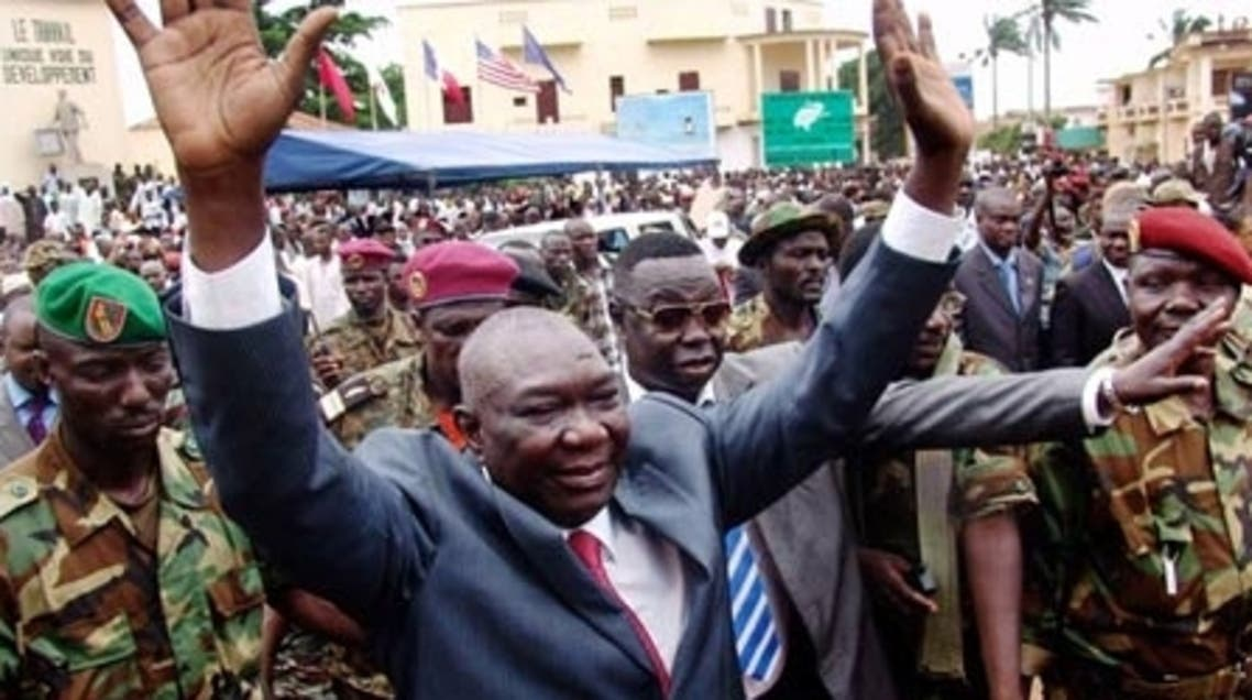 Central African Republic leader Michel Djotodia greets his supporters at a rally in Bangui. (Reuters)