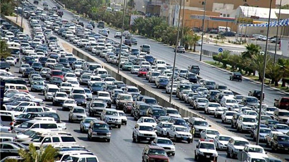 زحمة في أحد شوارع مدينة الرياض