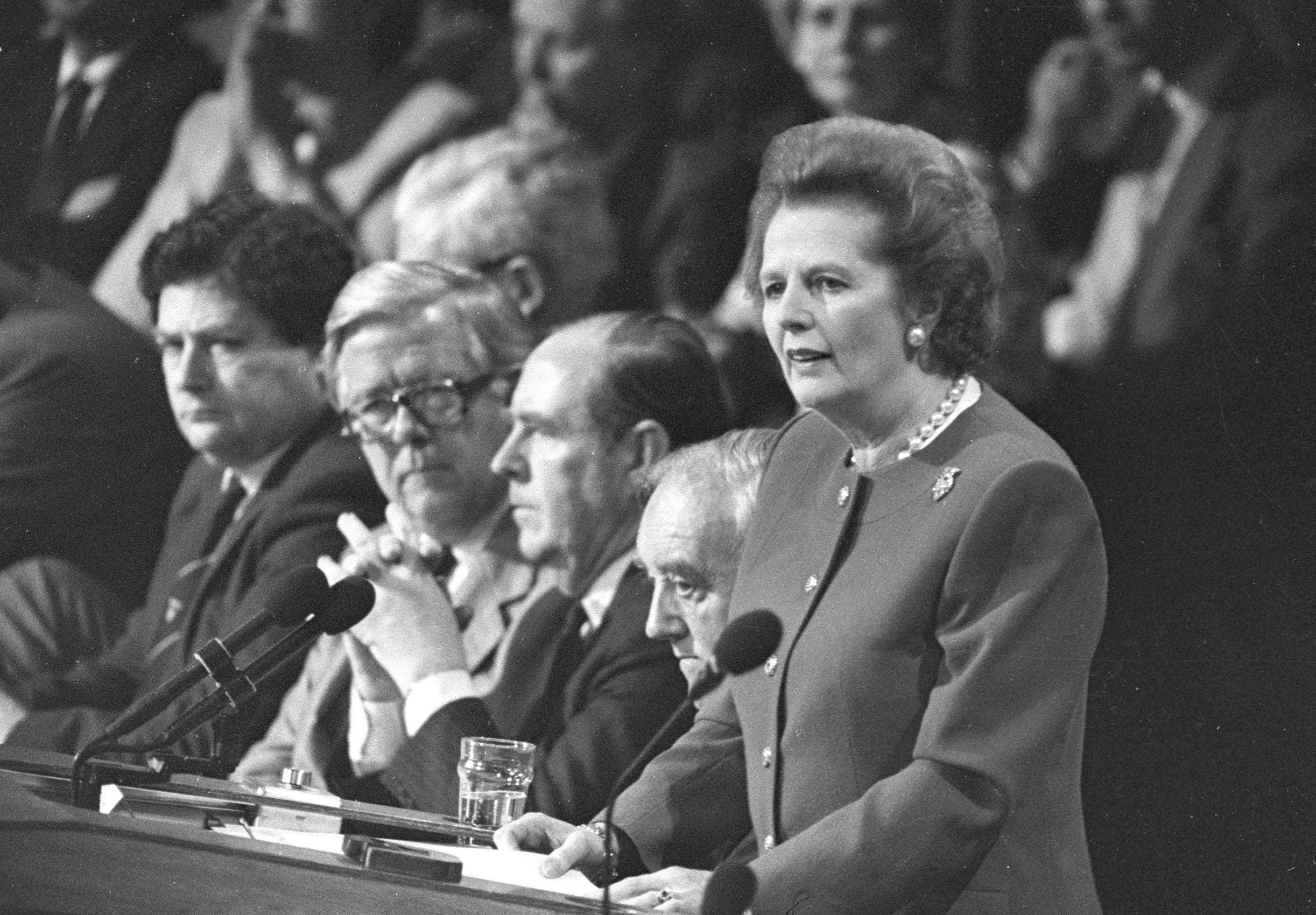 Margaret Thatcher gives the final address of the Conservative Convention in Brighton in this October 14, 1988 file photo. Former British Prime Minister Thatcher has died following a stroke, a spokesman for the family said. (Reuters)