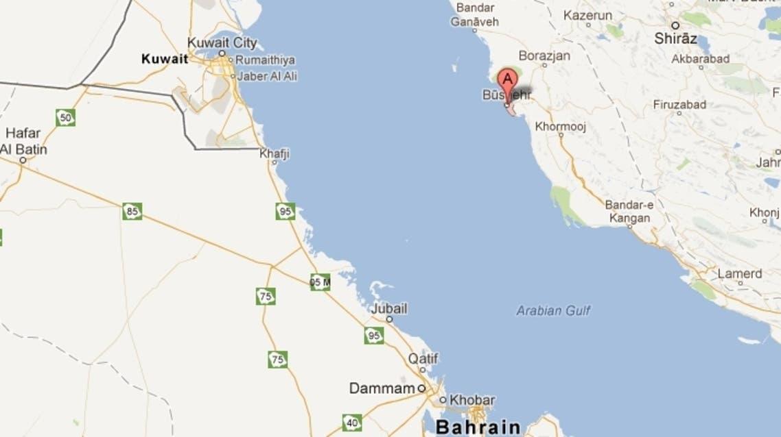 خريطة توضح موقع مفاعل بوشهر النووي الإيراني
