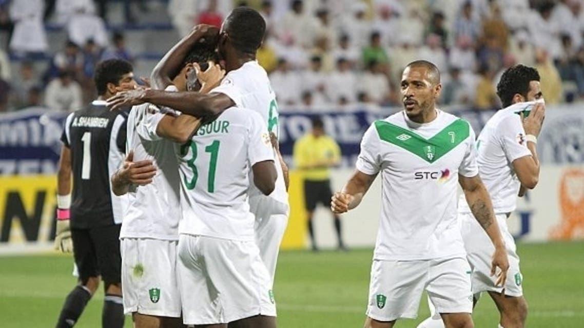 لاعبون اهلاويون يحتفلون بأحد أهدافهم الآسيوية.