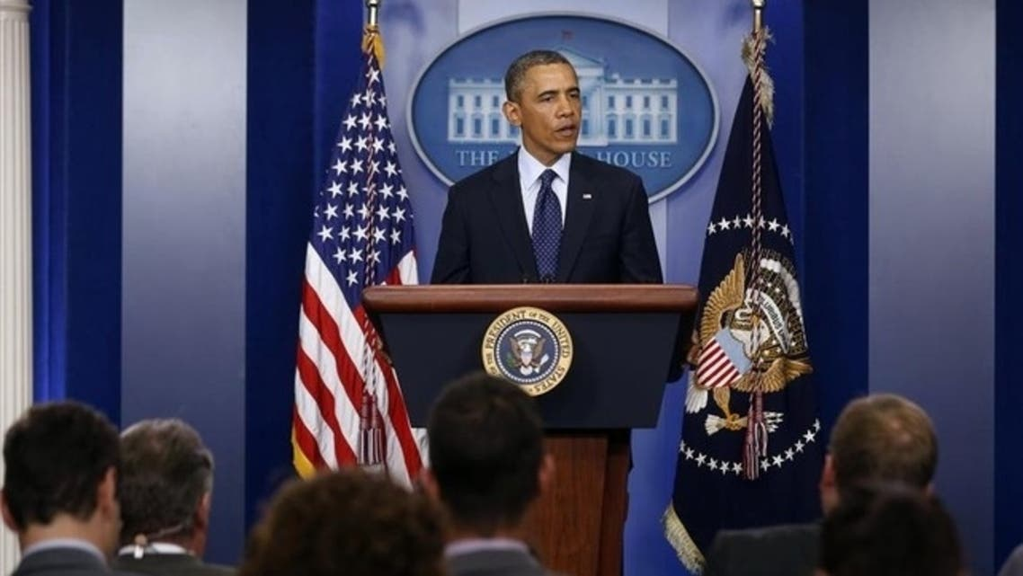 President Barack Obama talks about the explosions at the Boston Marathon at the White House, April 15, 2013