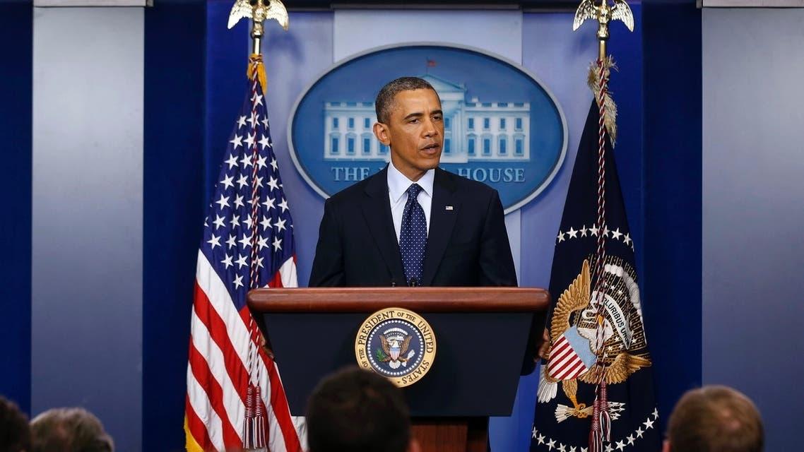 اوباما خلال المؤتمر الصحفي بعد تفجيرات بوسطن