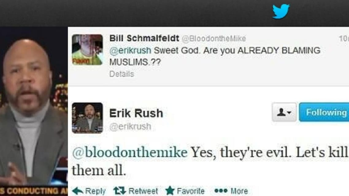 "Erik Rush, a regular on Fox News, called for all Muslims to be killed in a ""sarcastic"" Twitter post. (Twitter)"