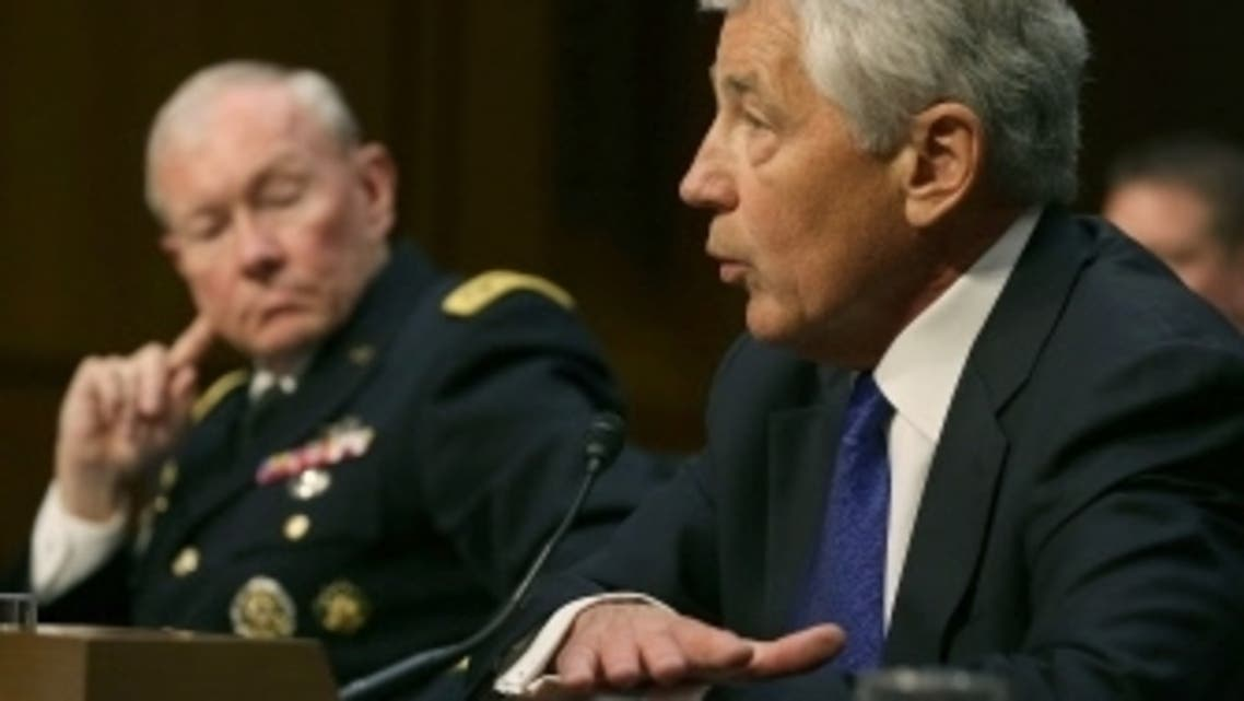 Defense Secretary Chuck Hagel (R) and Chairman of the Joint Chiefs of Staff Gen. Martin Dempsey testify during a Senate Armed Services Committee hearing on Capitol Hill, April 16, 2013 in Washington, DC. (Reuters)