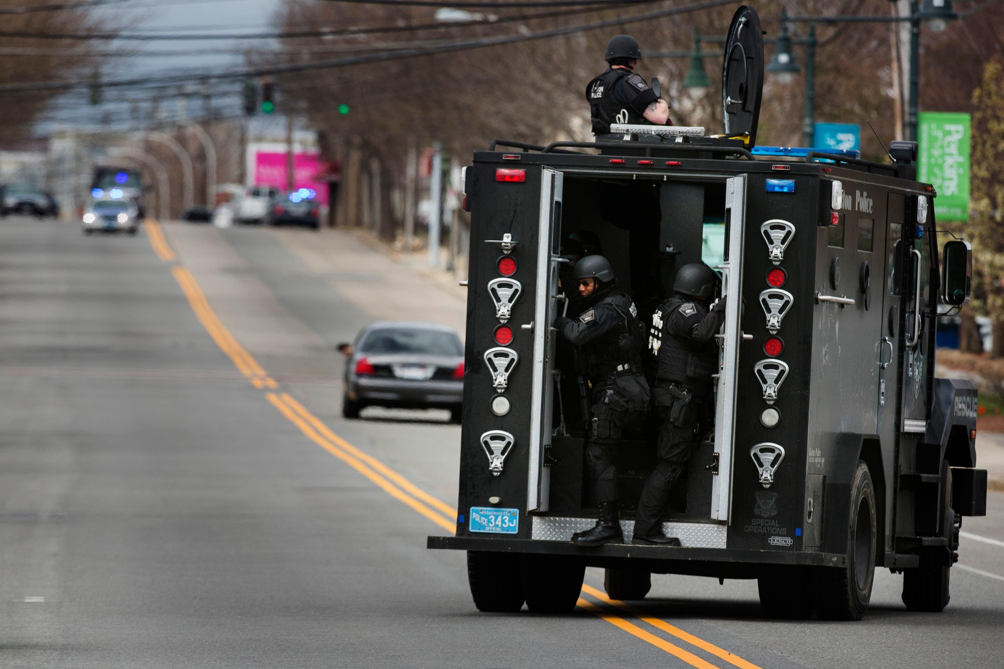 Boston bombing tactical vehicles REUTERS
