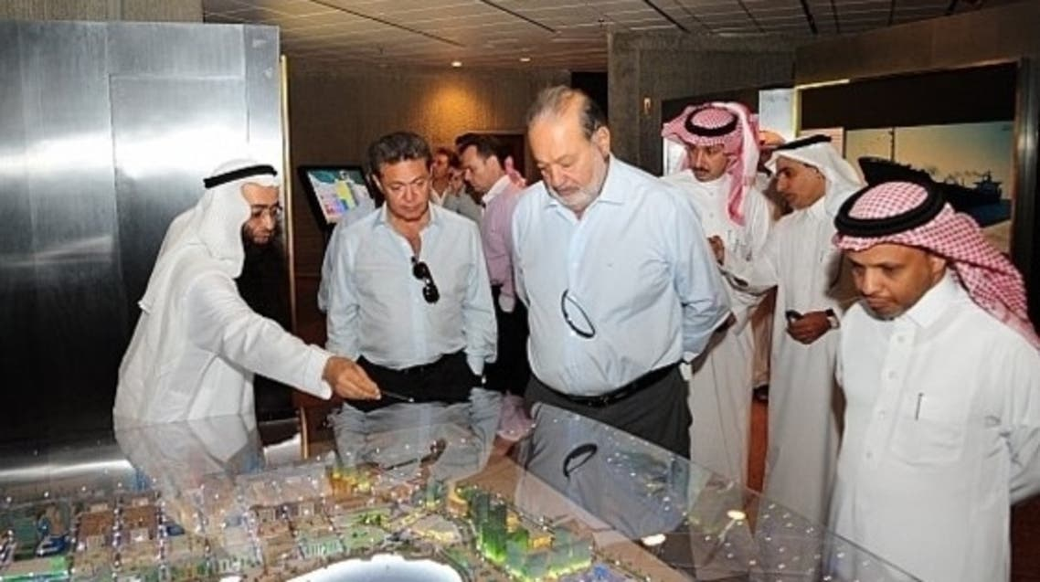 Carlos Slim during his visit to the industrial city of Jubail eastern Saudi Arabia
