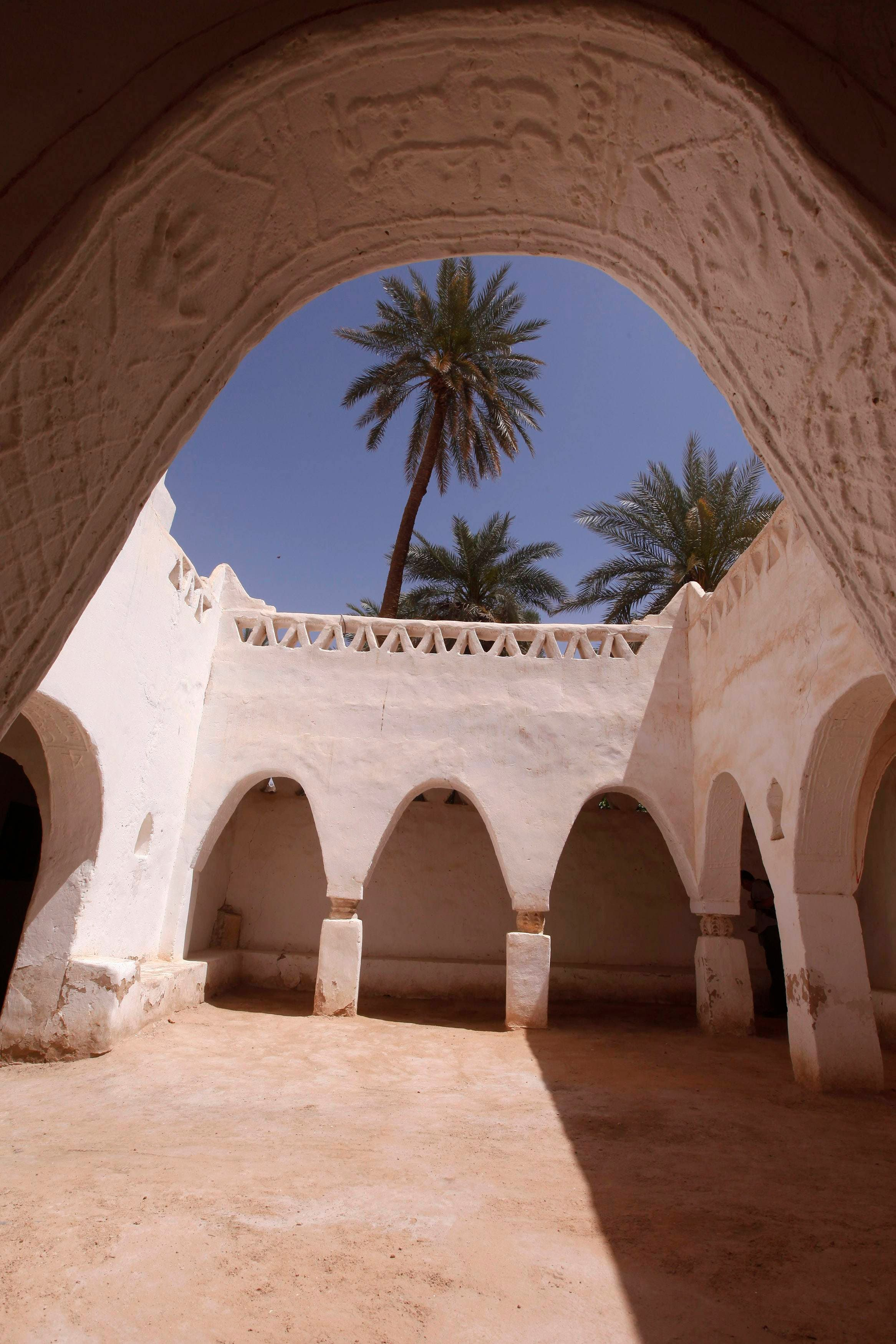 The arch that leads into a courtyard inside the enclosed old town, that is a designated UNESCO World Heritage site, is pictured in the Libyan desert oasis town of Ghadames (Reuters)