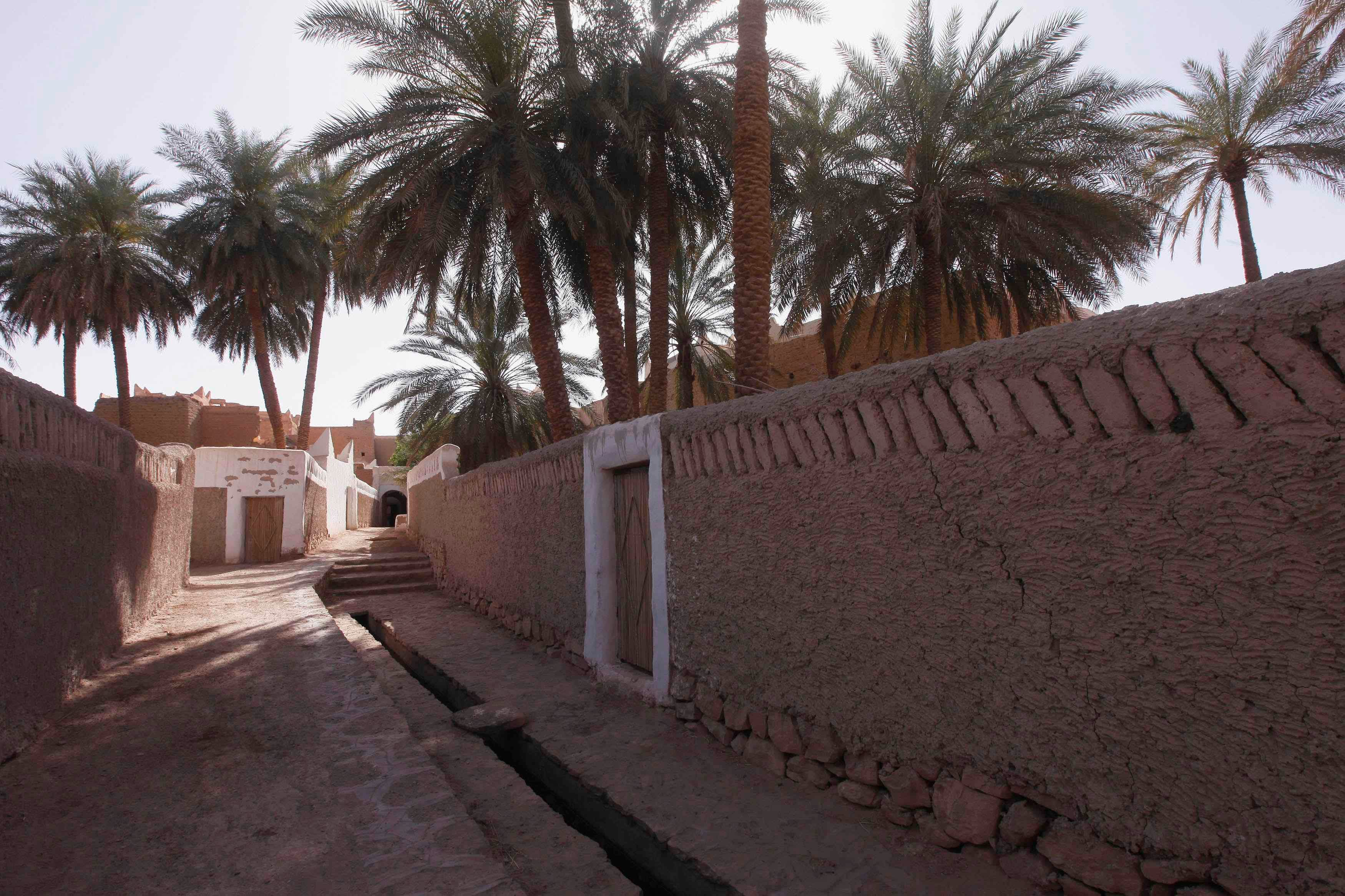 A waterway runs through a garden inside the the Libyan desert oasis town of Ghadames, a UNESCO World Heritage site (Reuters)