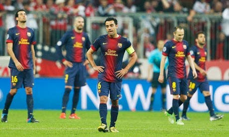 لاعبو برشلونة متأثرون من شدة الهزيمة الألمانية