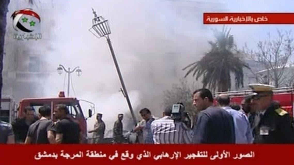انفجار بالقرب من وزارة الداخلية في ساحة المرجة بدمشق