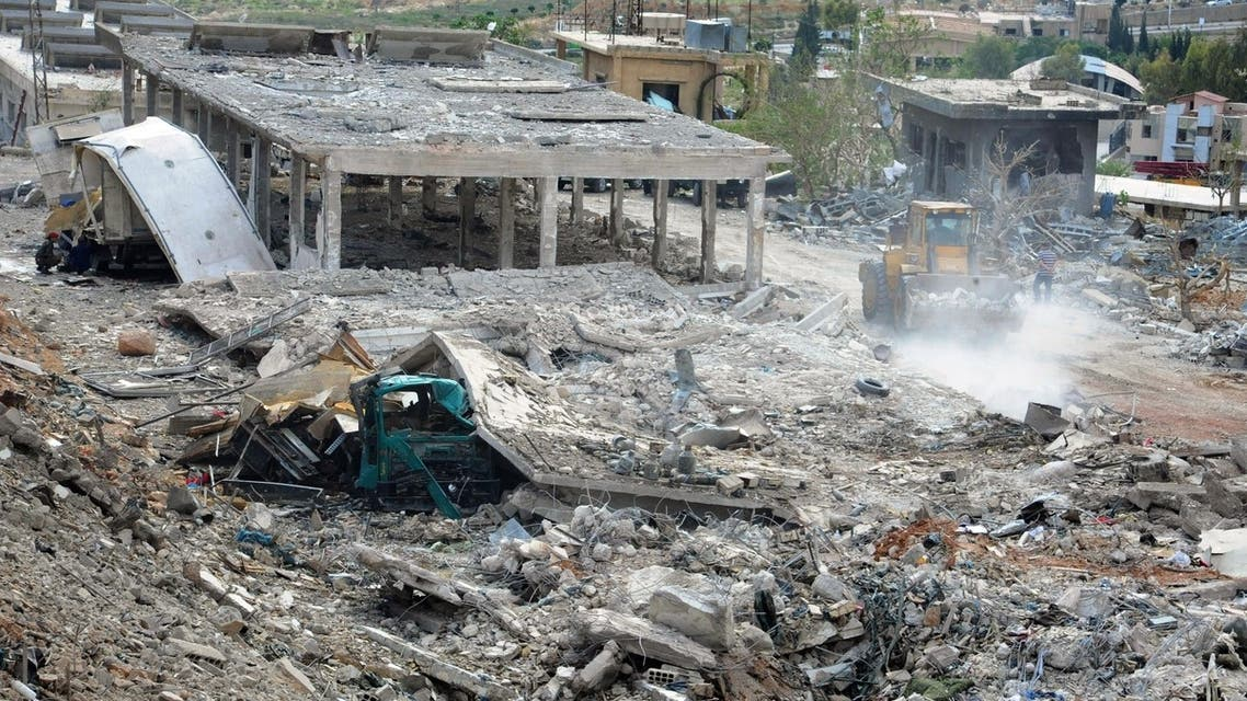 A handout picture released by the Syrian Arab News Agency (SANA) on May 5, 2013, allegedly shows, the damage caused by an Israeli strike according to SANA. (AFP)